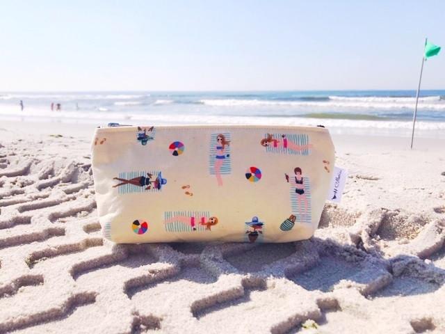 Summer Makeup Bags - Girls on Beach Print
