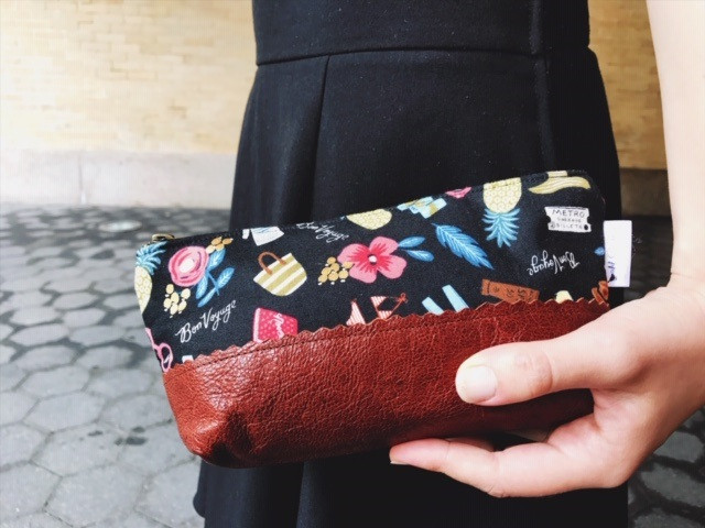 Leather Pouch - Black with Bon Voyage Print