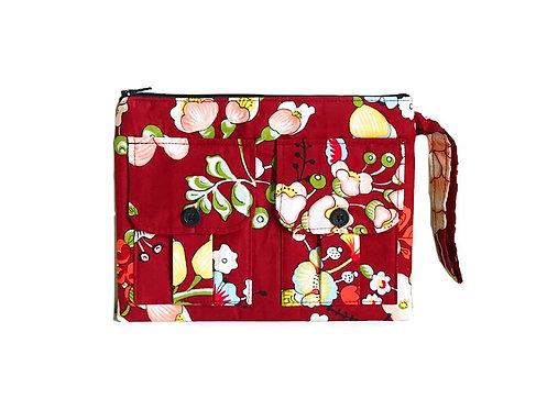 Wristlet Wallet - Red Floral - Handmade Handbags