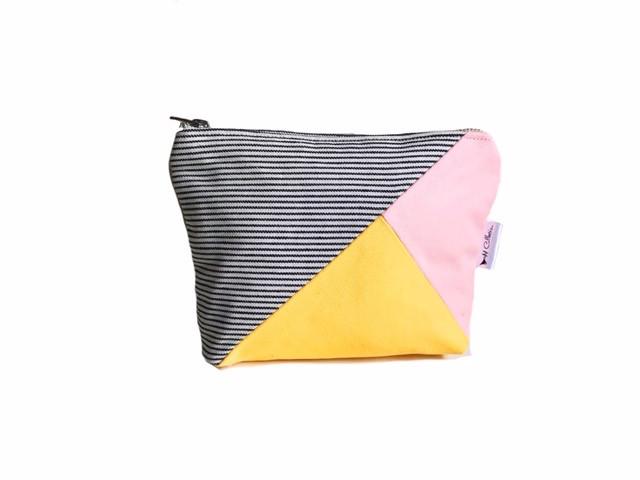 Handmade Makeup Bag- Pink and Yellow Canvas