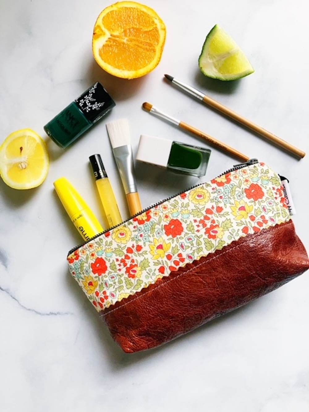 fantasy florals - daylily small leather pouch