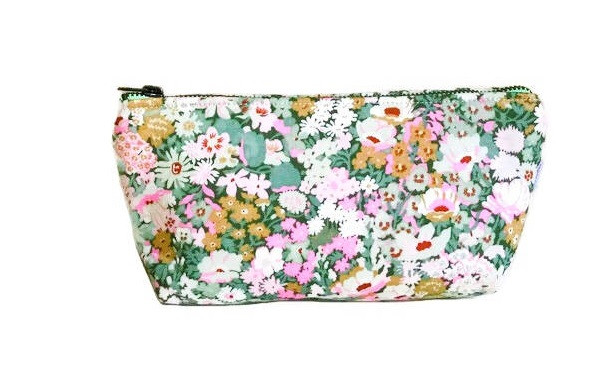 Makeup Bags Made in the USA - Pink and Green Floral Print Makeup bag
