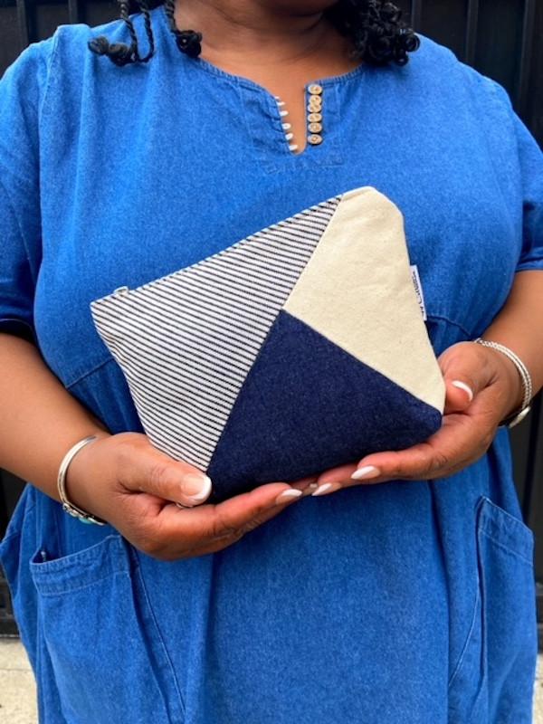 denim bag -blue and pinstripe fabric