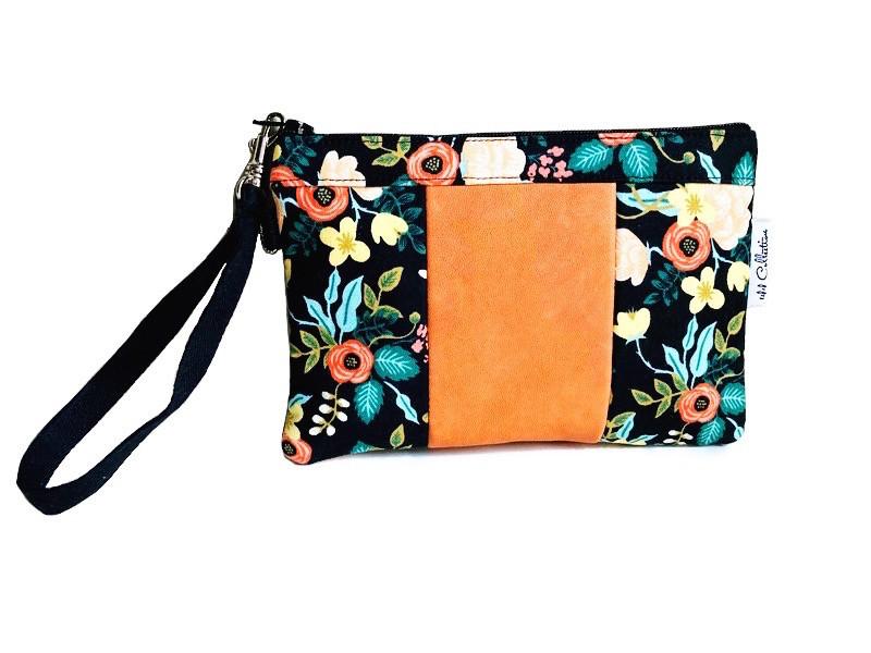 wristlet bag - black and orange floral print