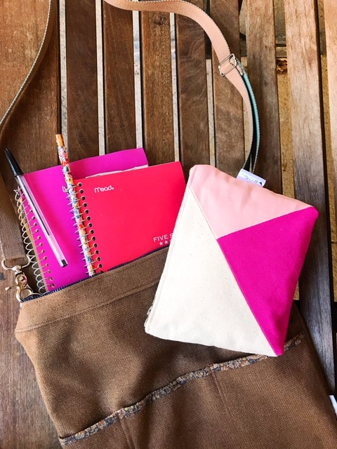 Gifts for College Girls - Pink and Fuchsia Canvas Zipper Pouch