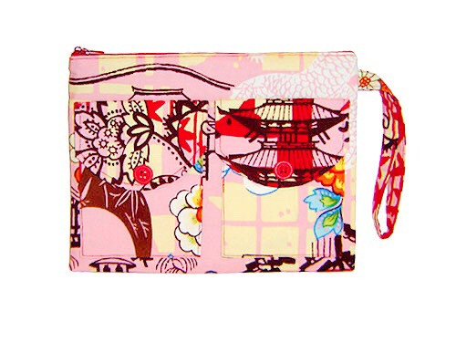 Handmade Bags, Baby Bibs and Accessories - Meet 144 Collection - pink and red floral wristlet
