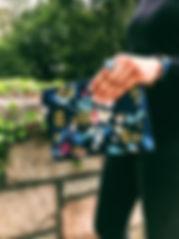 Blue Wristlet Wallet Floral Print.jpg