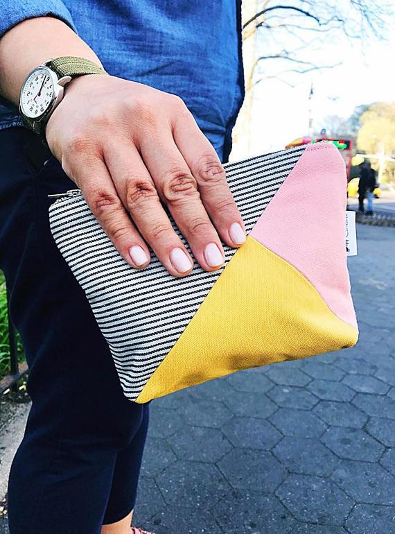 Women's Striped Canvas Makeup Bag