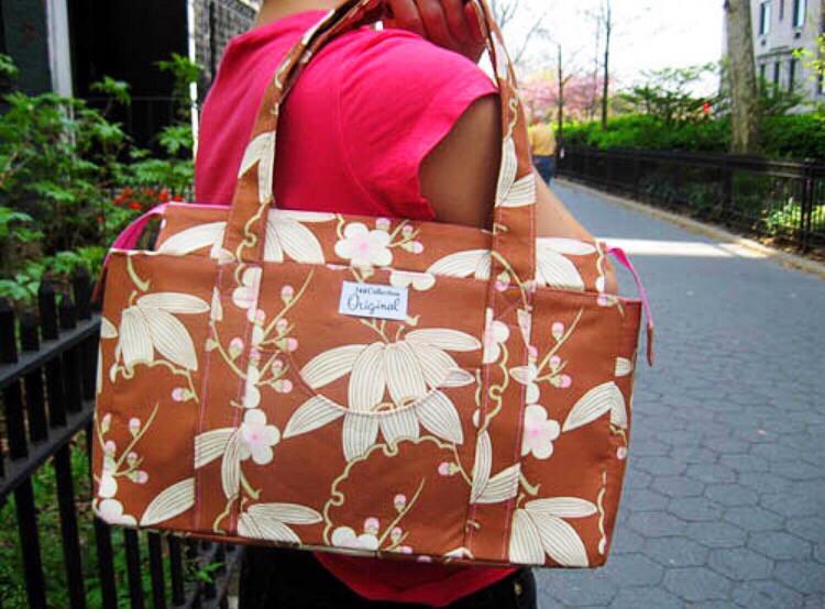 Handmade Bag - Pink and Brown Floral Print