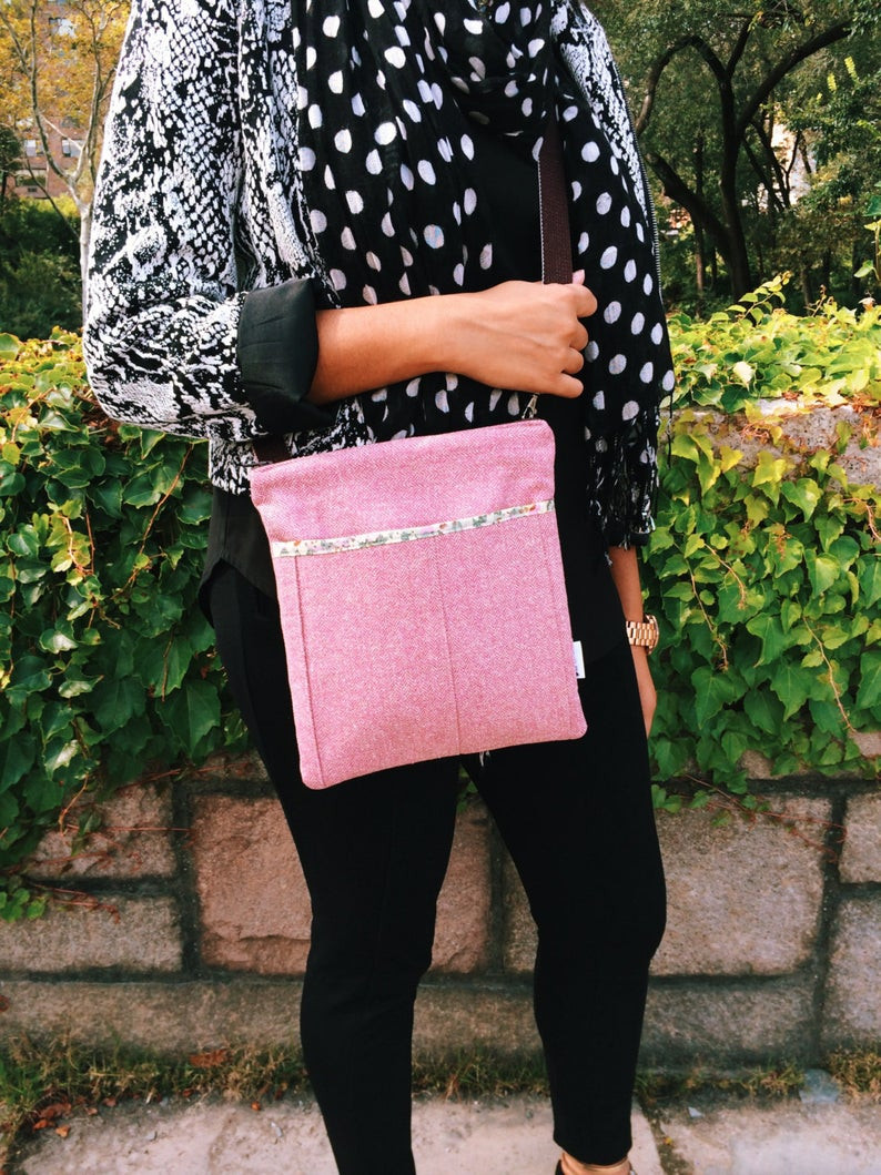 Handmade Crossbody Bag - Pink