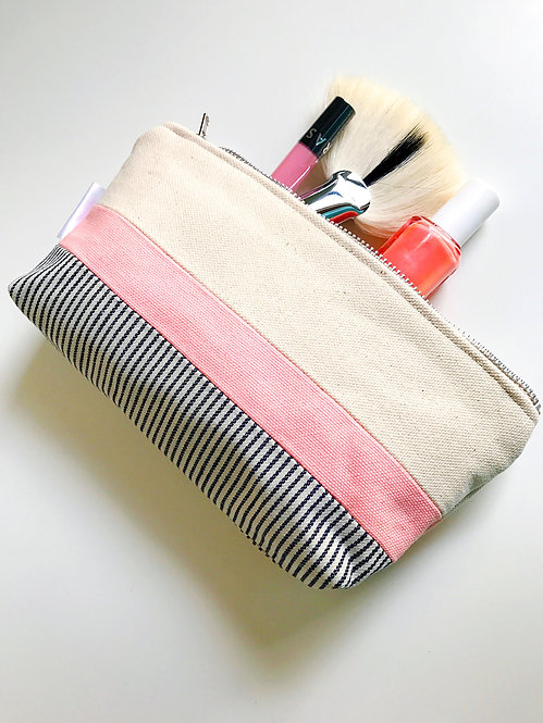 Pink Small Canvas Cosmetic Bag