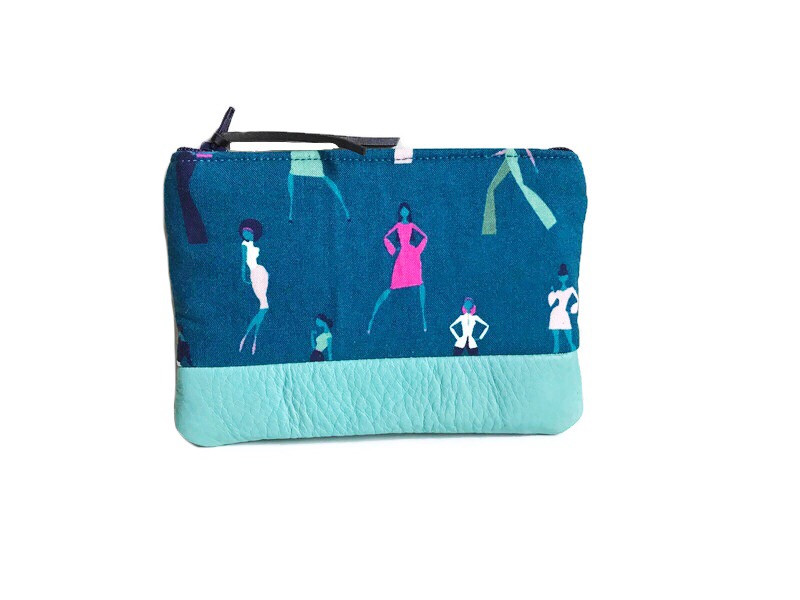 Womens Coin Purse - Teal with Leather Accent