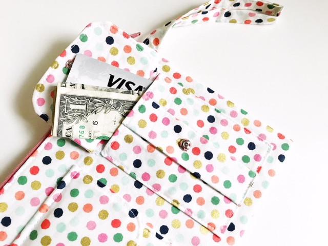 Wristlet Wallets - White front pocket view