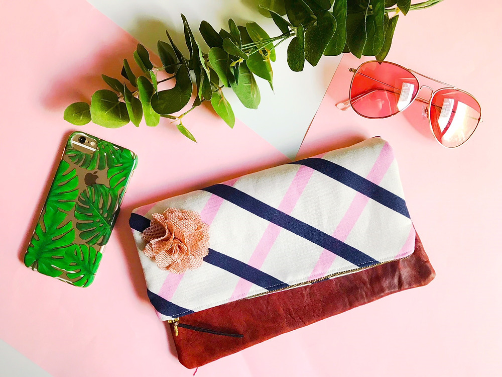 Handmade Clutch Purse Pink and Blue Stripes