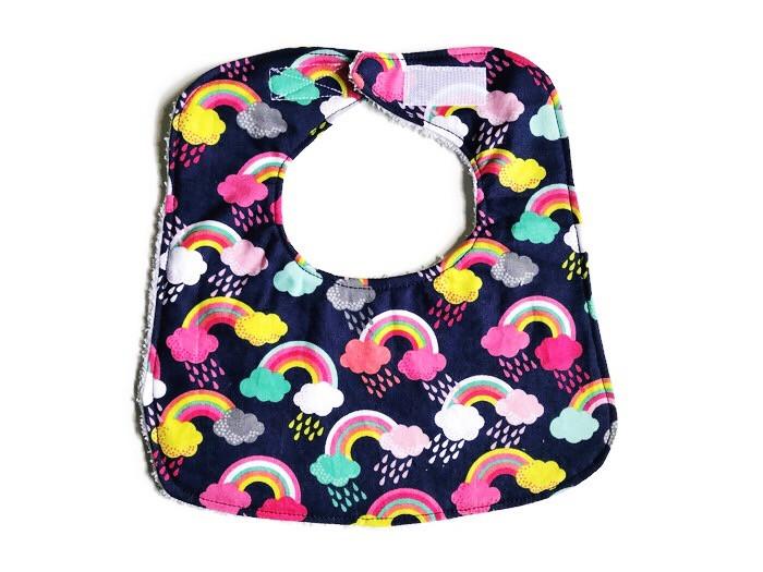 Baby Girl Bib - Rainbow Print