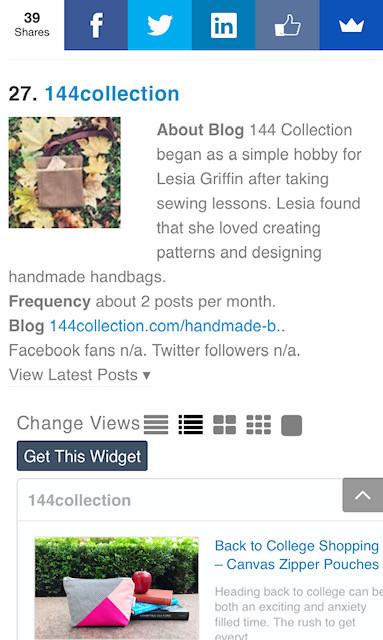 144 Collection in Feedspot Top 30 Bag Blogs