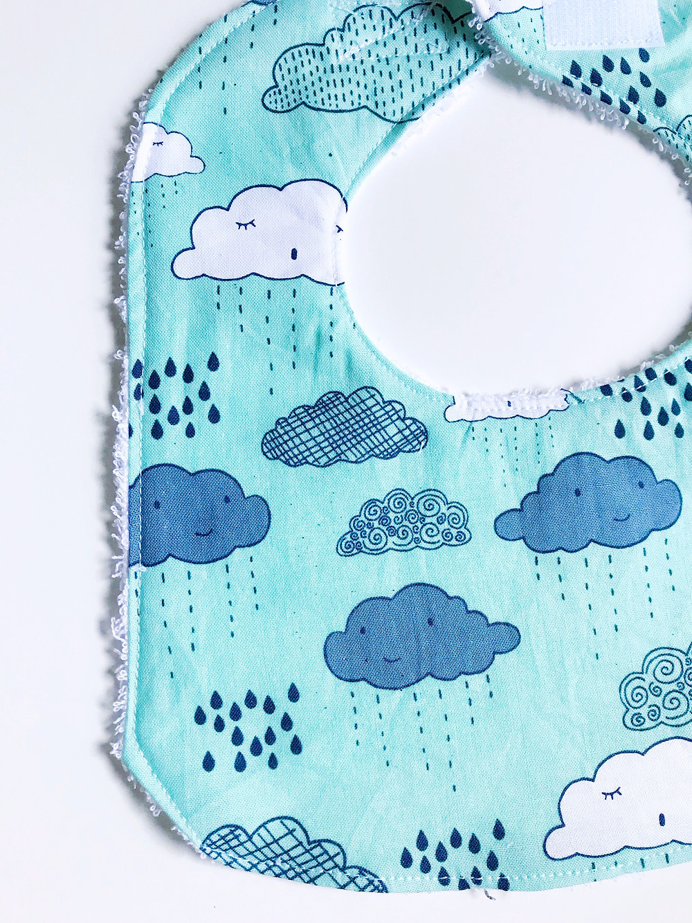 Baby Bibs - Blue Clouds and Rain Print