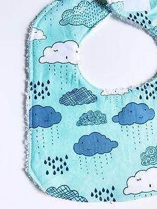 Handmade Baby Bib - Blue Clouds and Rain