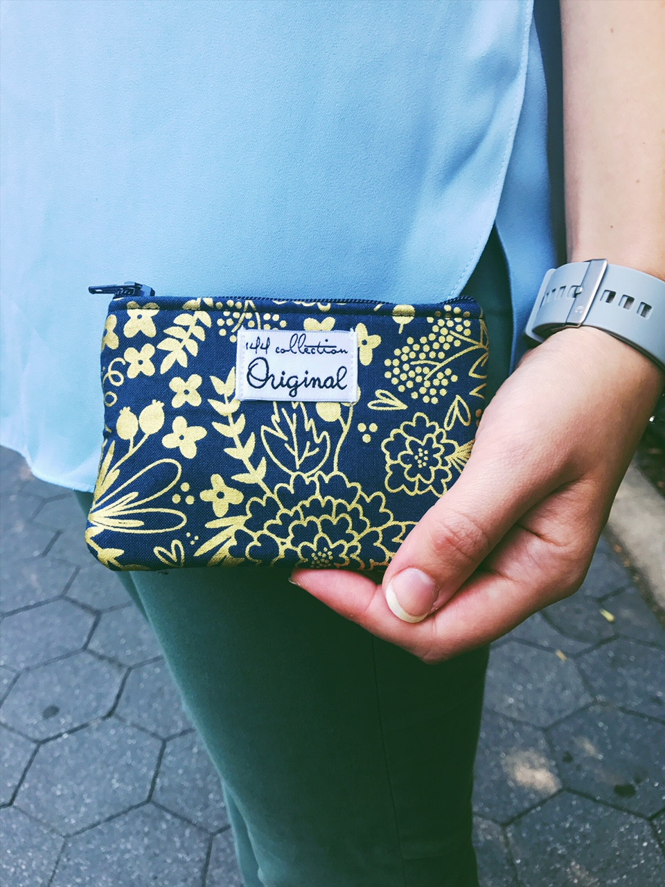Handmade Fabric Coin Purses - Blue and Metallic Gold Floral Print