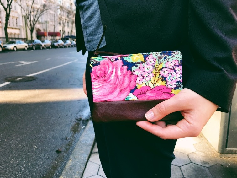 American Made Wallets - Blue Floral Brown Leather Coin Wallet