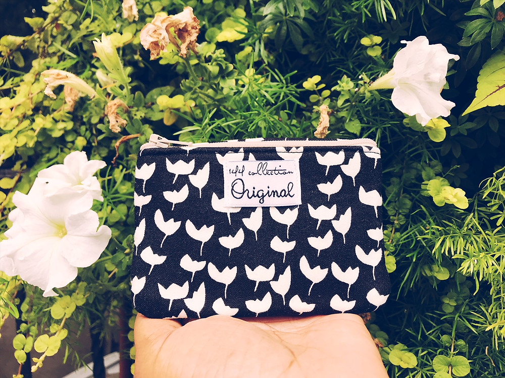 Handmade Fabric Coin Purses - Black and White Floral Print