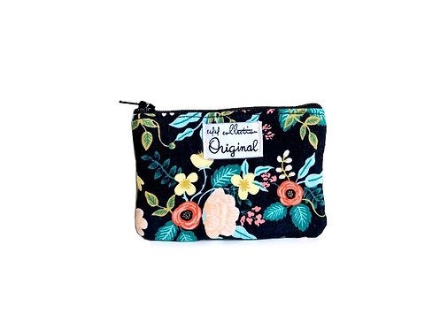 birch black floral coin purse