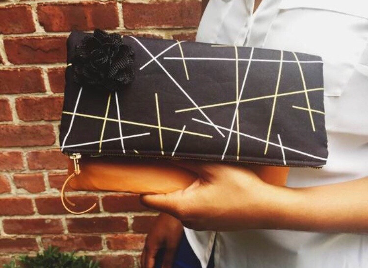 Handmade Evening Bags - White and Gold Sticks Fold Over Leather Clutch Bag
