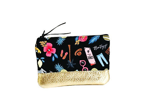 Bon Voyage Black Leather Change Purse