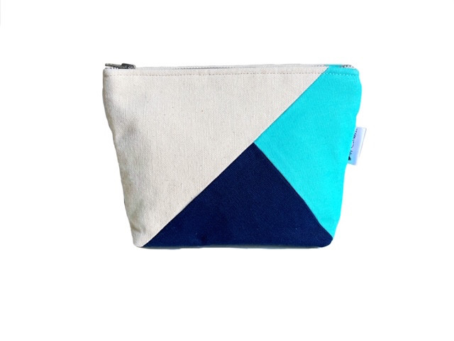 canvas pouch -blue and aqua