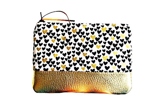 Hearts Gold Metallic Leather Coin Purse