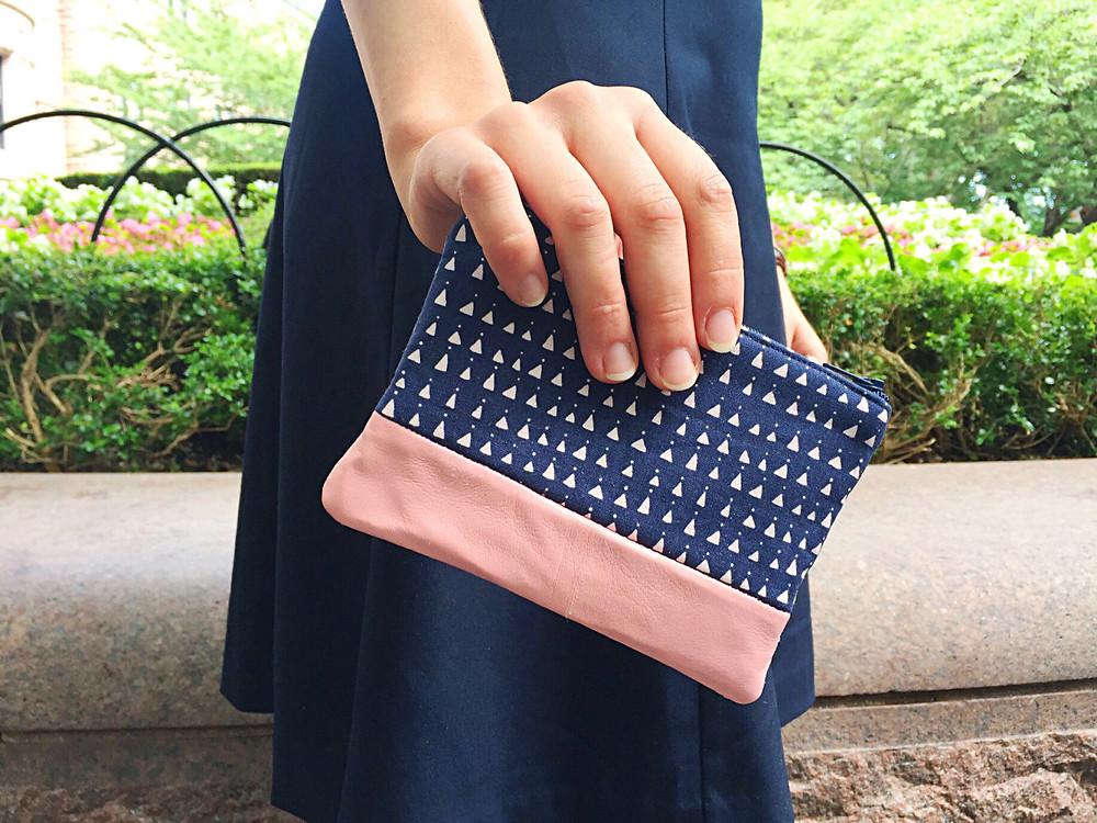 Handmade Handbag - Leather Coin Purse Triangles Navy Blue
