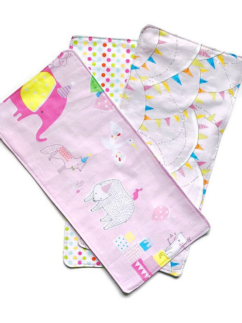 Baby Burp Cloths Party Animals Set of 3
