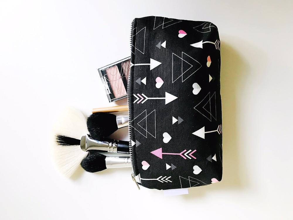 Hearts and Arrows Black Makeup Bag