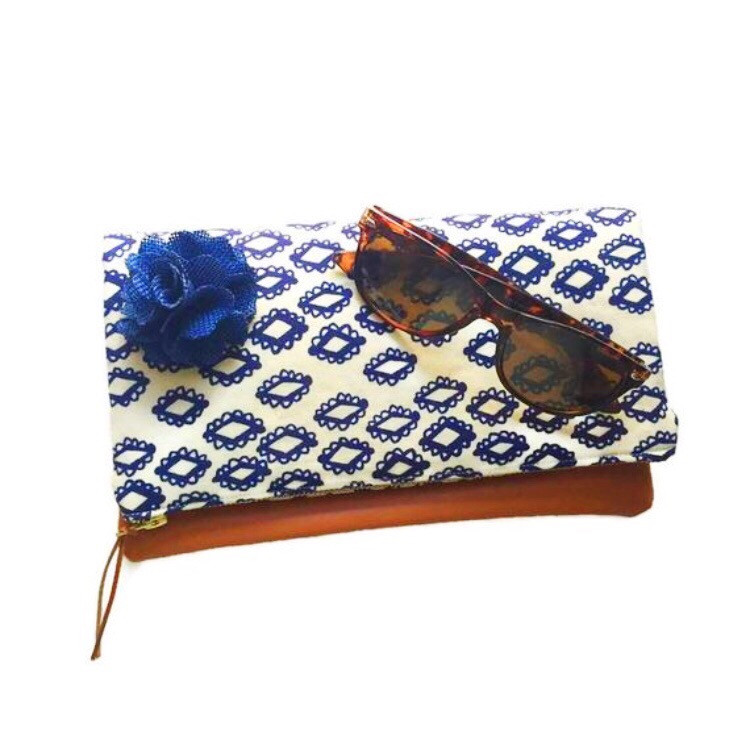 Summer Clutch Bags - Blue and White