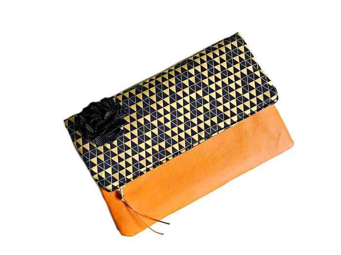 Handmade Evening Bags - Black and Gold Triangle Print