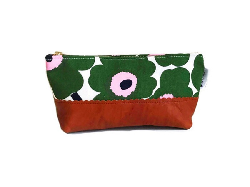 Floral Makeup Bag - Green and Pink with Leather Accent