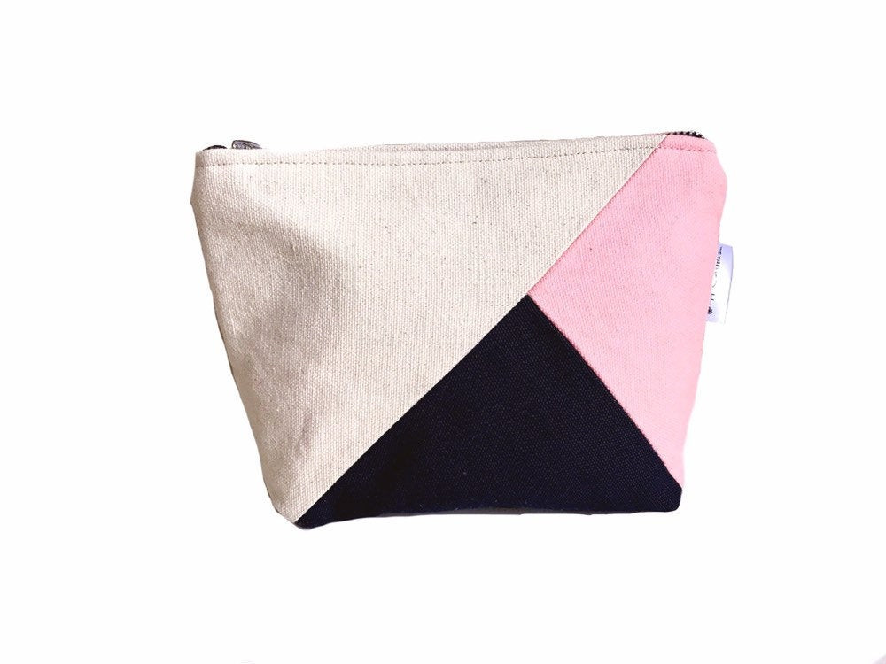 Color Block Bag - pink and navy blue canvas
