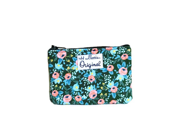mini coin purse - pink and green floral print