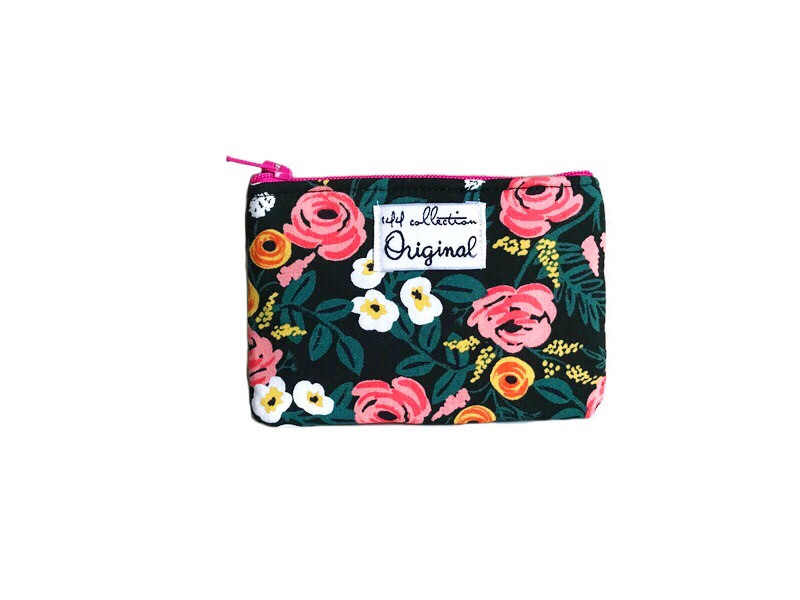 mini coin purse - pink and black floral print