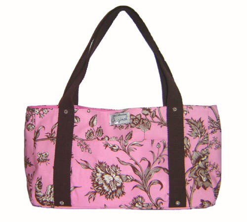 Handmade Bags, Baby Bibs and Accessories - Meet 144 Collection - Pink and Brown Floral Tote Bag