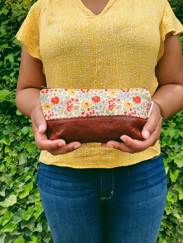 floral print handbags - daylily small leather pouch