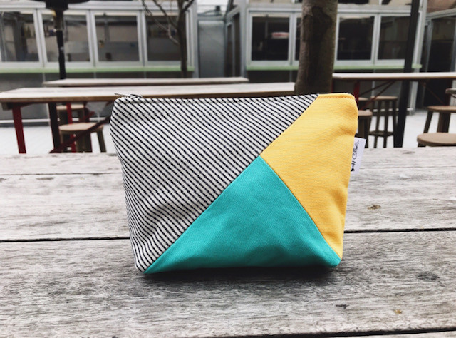 Back to College Shopping - Yellow and Aqua Canvas Zipper Pouch