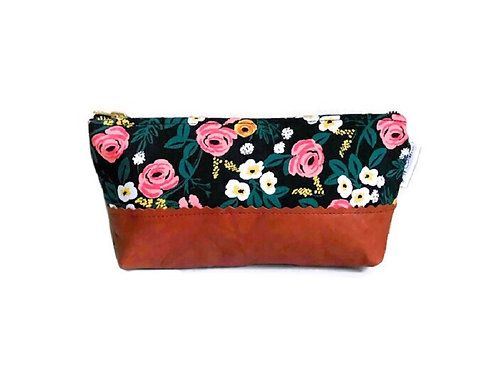 Roses Black Leather Makeup Bag