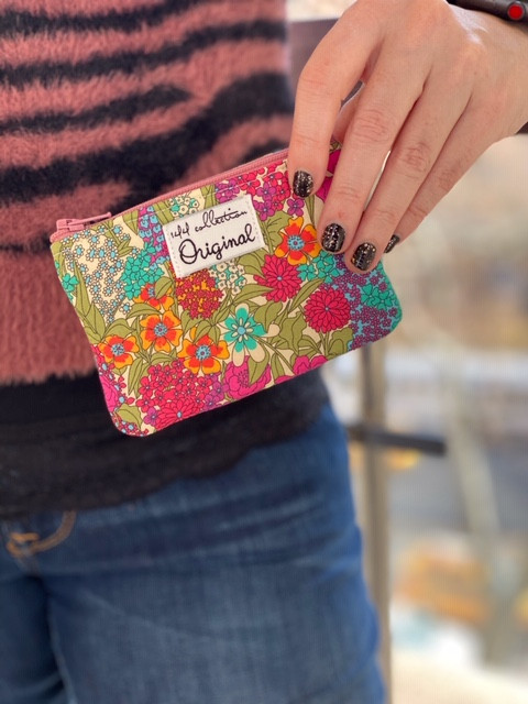 Change Purse Wallet - Fuchsia Floral Print