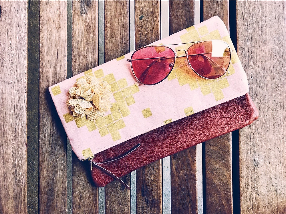 Summer Clutch Bags - Pink and Metallic Gold