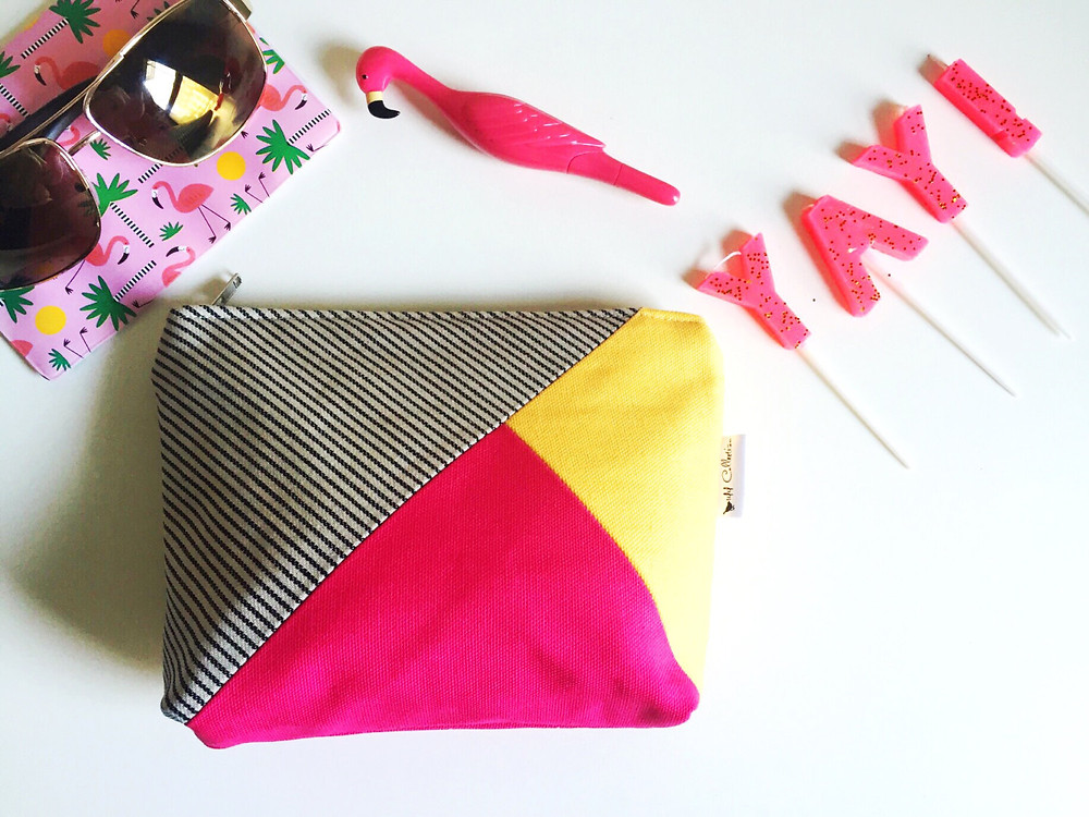 Canvas Makeup Bag - Striped Blue, Fuchsia Pink and Yellow Print
