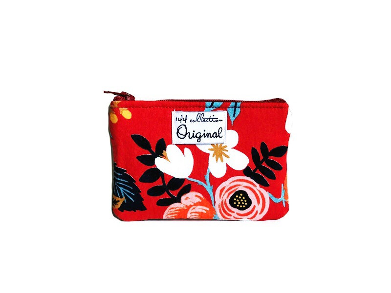 Small Coin Purse - Red Flower Print