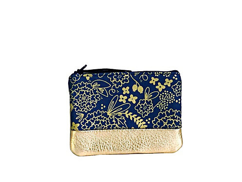 Navy Blue Metallic Gold Leather Coin Purse
