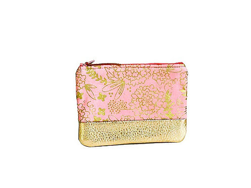 Pink Metallic Gold Leather Coin Purse