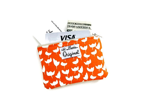 Coin Purse - Orange and White Print Tulips